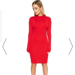 Nwt red long sleeve dress
